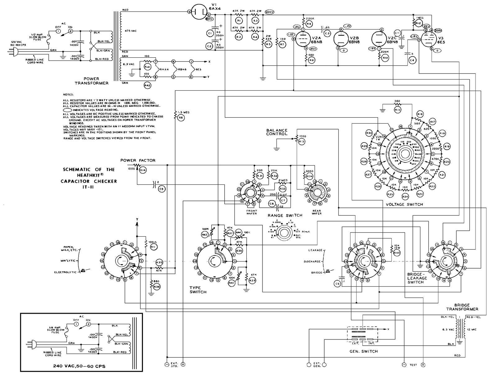 IT 11_schematic_1600 heathkit it 11 capacitor checker page 1 heathkit 101 transceiver wiring diagrams at gsmx.co