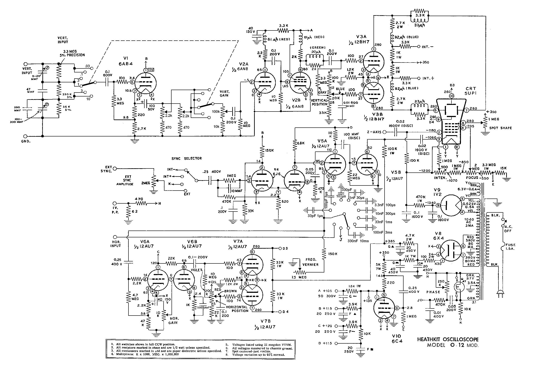 O-12_mod_schematic_2428 Oscilloscope Schematic on